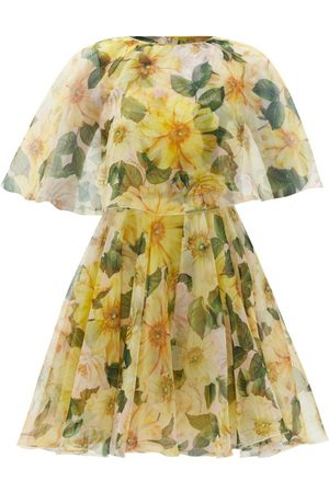 Dolce & Gabbana Caped Camellia-print Silk-organza Mini Dress - Womens - Print