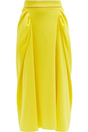 Roksanda Women Midi Skirts - Sazan Gathered-panel Crepe Midi Skirt - Womens