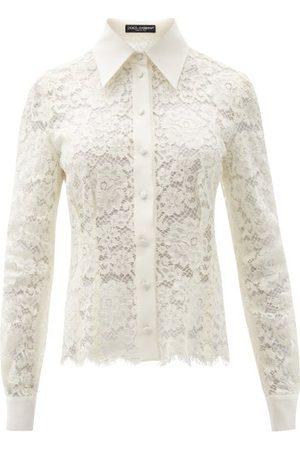 Dolce & Gabbana Women Shirts - Scalloped-hem Floral-lace Shirt - Womens