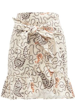 Isabel Marant Liliko Fluted-hem Paisley-print Cotton Skirt - Womens - Ivory