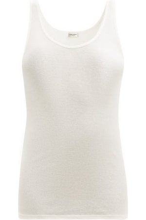 Saint Laurent Women Tank Tops - Scoop-neck Ribbed Modal-blend Tank Top - Womens