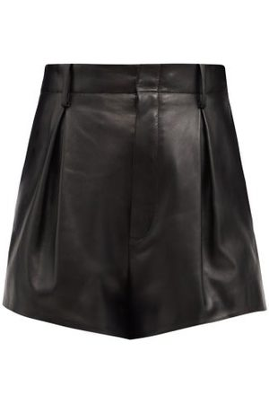 Saint Laurent High-rise Pleated Leather Shorts - Womens