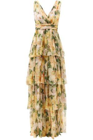 Dolce & Gabbana Women Printed Dresses - Tiered Camellia-print Silk-chiffon Gown - Womens - Multi