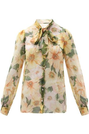Dolce & Gabbana Women Blouses - Pussy-bow Camellia-print Silk-chiffon Blouse - Womens - Multi