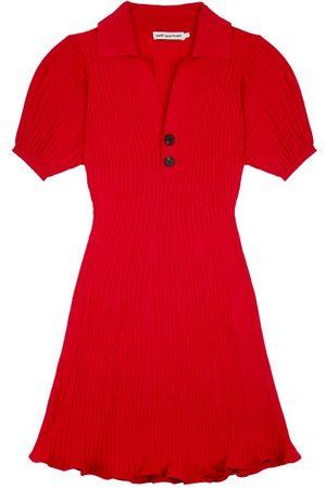 Self-Portrait Portrait - Puff-sleeve Rib-knit Polo Mini Dress - Womens