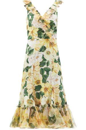Dolce & Gabbana Women Printed Dresses - Camellia-print Ruffled Silk-blend Midi Dress - Womens - Multi