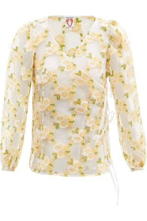 Shrimps Women Wrap tops - Cordelia Floral Fil-coupé Organza Wrap Top - Womens - Multi