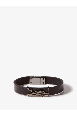 Saint Laurent Men Bracelets - Ysl Logo-plaque Leather Bracelet - Mens