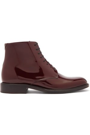 Saint Laurent Men Ankle Boots - Lace-up Patent-leather Ankle Boots - Mens - Burgundy