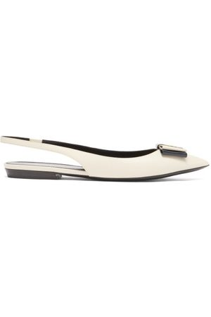 Saint Laurent Anais Ysl-plaque Bow Leather Slingback Flats - Womens - Multi