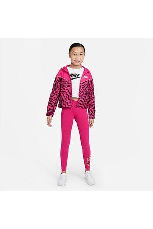 Nike Girls' Sportswear Zebra Infill Favorites Graphic Leggings in Pink/Fireberry Size Small Cotton/Spandex/Knit