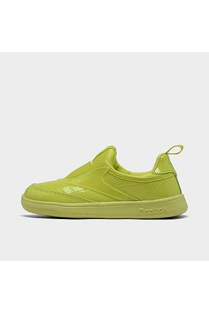 Reebok Girls' Toddler Classics Cardi Coated Club C Double Slip-On III Casual Shoes in /High Vis Size 4.0 Leather