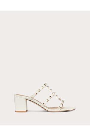 VALENTINO GARAVANI Rockstud Calfskin Leather Slide Sandal 60 Mm Women Light Ivory 100% Pelle Di Vitello - Bos Taurus 35