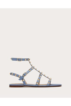 VALENTINO GARAVANI Rockstud Flat Calfskin Sandal With Straps Women Azure 100% Pelle Di Vitello - Bos Taurus 35