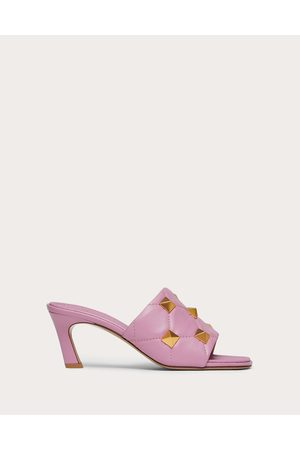 VALENTINO GARAVANI Women Sandals - Roman Stud Slide Sandal In Quilted Nappa 65 Mm Women Light 100% Lambskin 35
