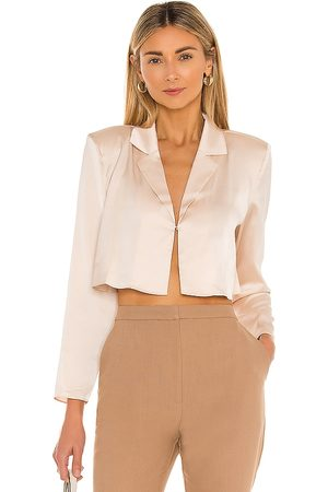 L'Academie The Leona Crop Blouse in Blush.