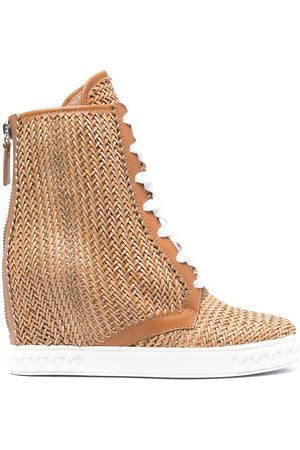 Casadei Ina 80mm woven wedge boots - Neutrals