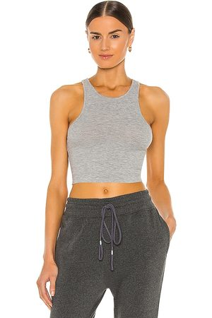 Free People High Neck Ribbed Crop Top in Light Grey.