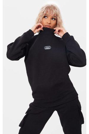 PRETTYLITTLETHING Women Turtlenecks - New Season Badge High Neck Oversized Sweater