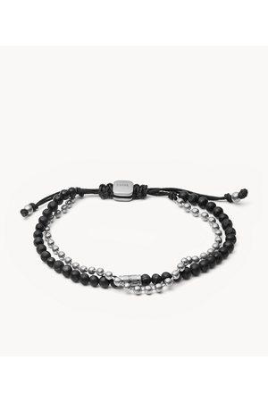 Mens Men Bracelets - Fossil Men's Lava Stone Stainless Steel Multi-Strand Bracelet