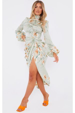 PRETTYLITTLETHING Women Printed Dresses - Sage Floral Twist Bust Draped Midi Dress