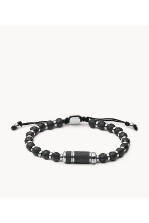 Mens Fossil Men's Caravan Lava Stainless Steel Beaded Bracelet