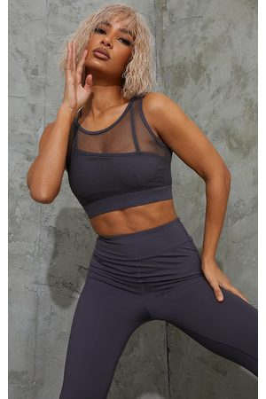 PRETTYLITTLETHING Charcoal Brushed Luxe Mesh Overlay Padded Sports Bra