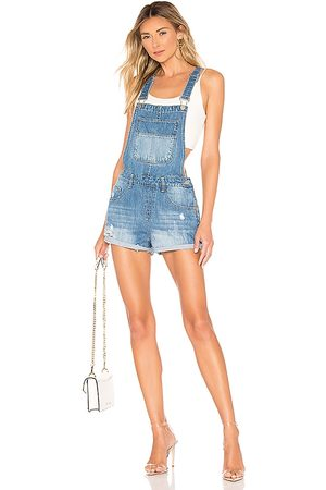 superdown Carmen Denim Short Overalls in Blue.