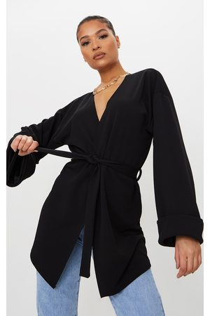 PRETTYLITTLETHING Women Blazers - Belted Oversized Sleeve Blazer