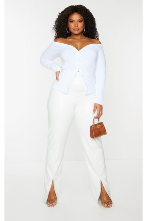 PRETTYLITTLETHING Plus Off Shoulder Button Through Top