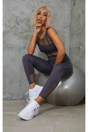 PRETTYLITTLETHING Women Leggings - Charcoal Brushed Luxe Mesh Insert Gym Leggings