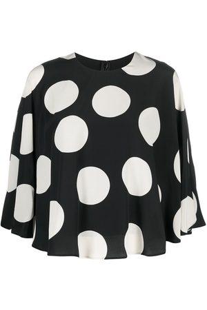 VALENTINO Polka dot print cape-style blouse