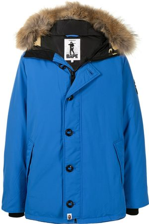 A Bathing Ape Men Puffer Jackets - Trimmed-hood camouflage-panel padded jacket