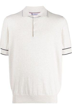 Brunello Cucinelli Men Polo Shirts - Contrasting cuff trim polo shirt - Neutrals