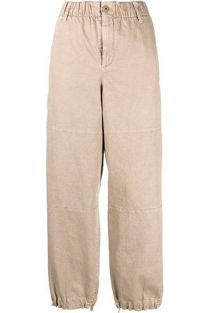 Brunello Cucinelli Women Straight Leg Pants - Elasticated straight-leg trousers - Neutrals