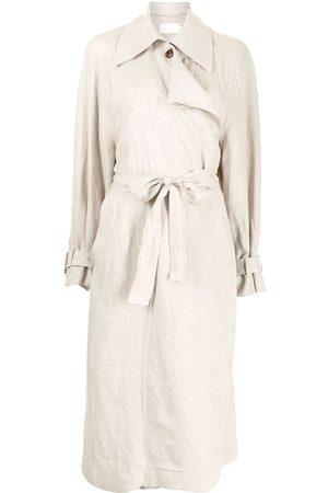 Low Classic Women Trench Coats - Draped panel eco linen trench coat