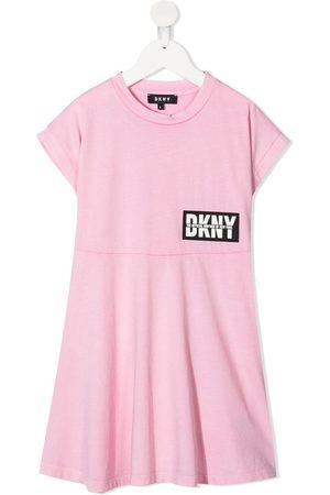 DKNY Girls Casual Dresses - Logo-patch cotton dress