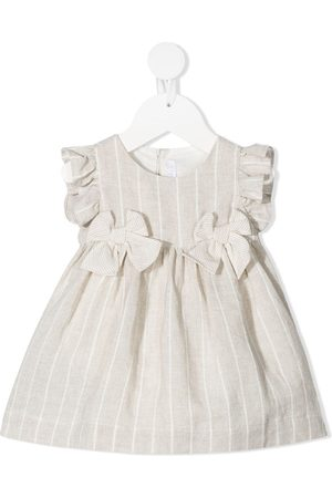 Il gufo Baby Printed Dresses - Stripe-print ruffle-trim dress - Neutrals