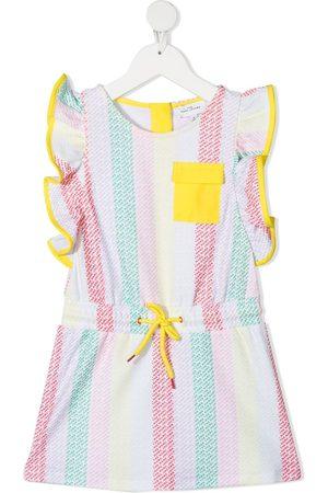 The Marc Jacobs Ruffle-sleeve logo-stripe dress