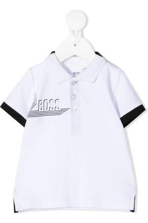 HUGO BOSS Contrast trimmed logo print polo shirt