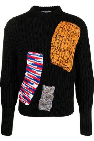 RAF SIMONS Patchwork design ribbed-knit jumper