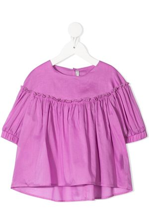Il gufo Girls Blouses - Ruched-detail cotton blouse