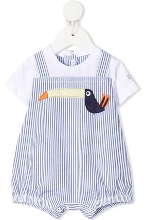 Il gufo Stripe-print pelican-motif shorties