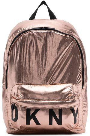 DKNY Girls Rucksacks - Metallic logo print backpack