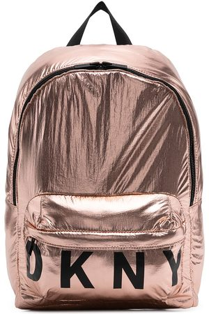 DKNY Metallic logo print backpack
