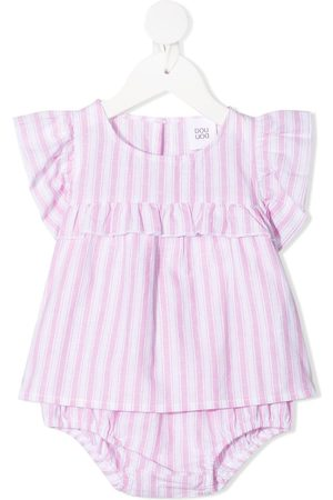 DOUUOD KIDS Stripe-print ruffled babygrow set