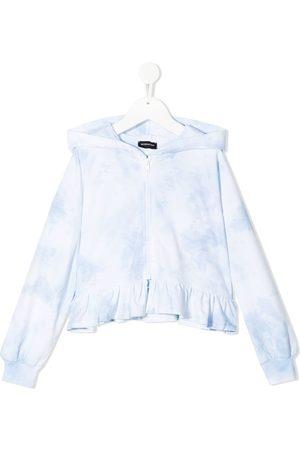 MONNALISA Tie-dye ruffle hoodie