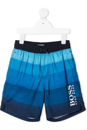 HUGO BOSS Boys Swim Shorts - Logo-print striped swimming trunks