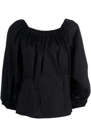 FEDERICA TOSI Women Blouses - Gathered silk-cotton blend balloon-sleeve blouse