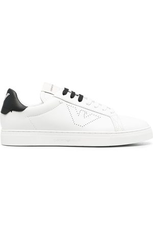 Emporio Armani Men Sneakers - Leather perforated-logo trainers